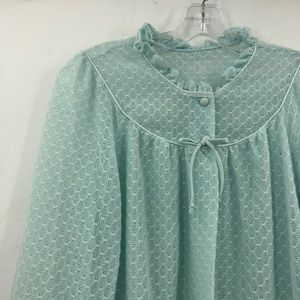VINTAGE baby blue ruffle collar open cardigan